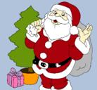 Dibujo Santa Claus y un árbol de navidad pintado por NORYS