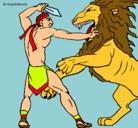 Dibujo Gladiador contra león pintado por leo