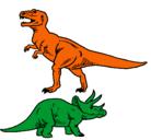 Dibujo Triceratops y tiranosaurios rex pintado por gabriel