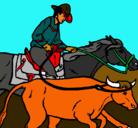 Dibujo Vaquero y vaca pintado por elbacero