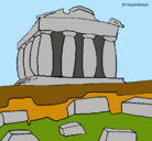 Dibujo Partenón pintado por polis