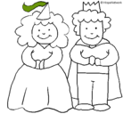 Dibujo Princesa y rey pintado por principes