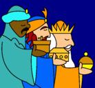 Dibujo Los Reyes Magos 3 pintado por goku