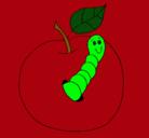 Dibujo Manzana con gusano pintado por goo8ie