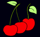 Dibujo cerezas pintado por frutas
