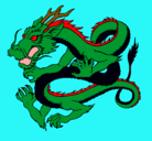 Dibujo Dragón japonés pintado por veneno