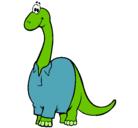 Dibujo Diplodocus con camisa pintado por changos