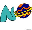 Dibujo Neptuno pintado por changos