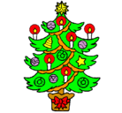 Dibujo Árbol de navidad con velas pintado por rios