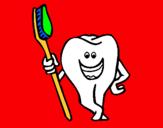 Dibujo Muela y cepillo de dientes pintado por muelita