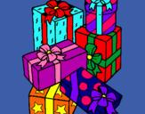 Dibujo Una montaña de regalos pintado por friss