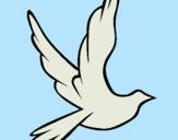 Dibujo Paloma de la paz al vuelo pintado por simulacion