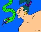 Dibujo Serpiente y guerrero pintado por suma