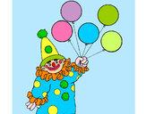 Dibujo Payaso con globos pintado por granadilla