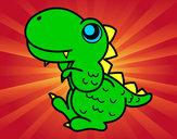 Dibujo Estegosaurio de perfil pintado por frijol