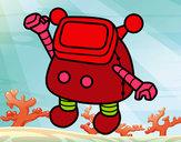 Dibujo Robot saludando pintado por elbetito