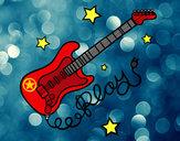 Dibujo Guitarra y estrellas pintado por IsaEscrich