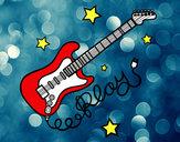 Dibujo Guitarra y estrellas pintado por rora