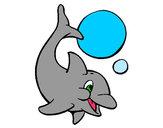 Dibujo Delfín jugando con una pelota 1 pintado por merryck