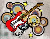 Dibujo Guitarra y estrellas pintado por camilatopa