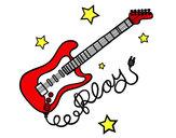 Dibujo Guitarra y estrellas pintado por babycosito