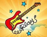 Dibujo Guitarra y estrellas pintado por ganatapaye