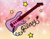 Dibujo Guitarra y estrellas pintado por ICIA6