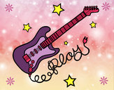 Dibujo Guitarra y estrellas pintado por aicy27