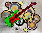 Dibujo Guitarra y estrellas pintado por jaiver