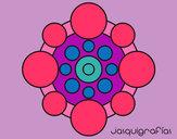 Dibujo Mandala con redondas pintado por maitena