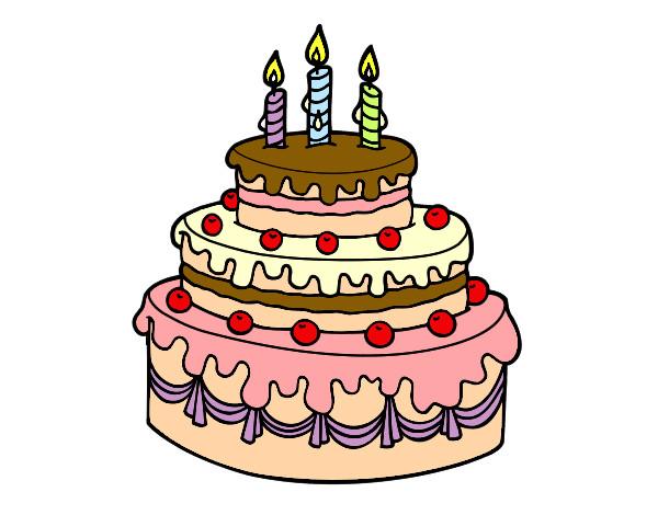 Dibujos de Tartas de cumpleaños para Colorear - Dibujos.net