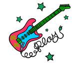 Dibujo Guitarra y estrellas pintado por Camilas