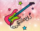 Dibujo Guitarra y estrellas pintado por salaly