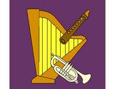 Dibujo Arpa, flauta y trompeta pintado por catalinas