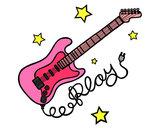 Dibujo Guitarra y estrellas pintado por catalinas