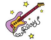 Dibujo Guitarra y estrellas pintado por isolin
