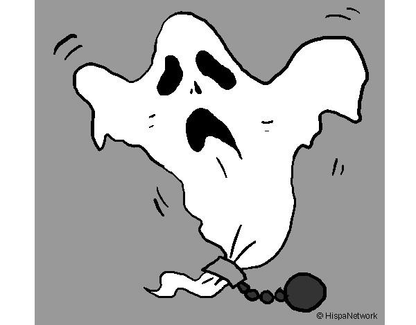 Dibujo De Fantasma Con Sombrero De Fiesta Para Colorear