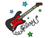 Dibujo Guitarra y estrellas pintado por pitu11
