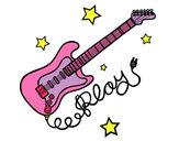 Dibujo Guitarra y estrellas pintado por saibel