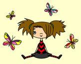 Dibujo Niña con mariposas pintado por luzmari