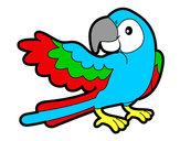 Dibujo Loro con ala abierta pintado por iselli