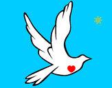 Dibujo Paloma de la paz al vuelo pintado por queyla