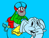 Dibujo Rey Baltasar en elefante pintado por vegetta777