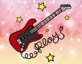 Dibujo Guitarra y estrellas pintado por tamiz