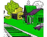 Dibujo Estación de tren pintado por breyton