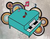 Dibujo Piano de cola pintado por nereee