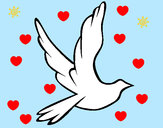 Dibujo Paloma de la paz al vuelo pintado por ureta