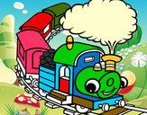 Dibujo Tren sonriente pintado por gatitos3