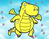 Dibujo Dragón volador pintado por gatitos3