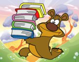 Oso con libros